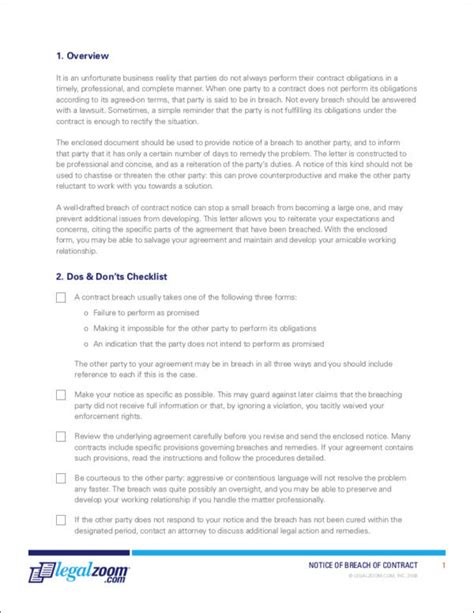 Remedies For Contract Breaches Sle Templates Legalzoom Contract Template