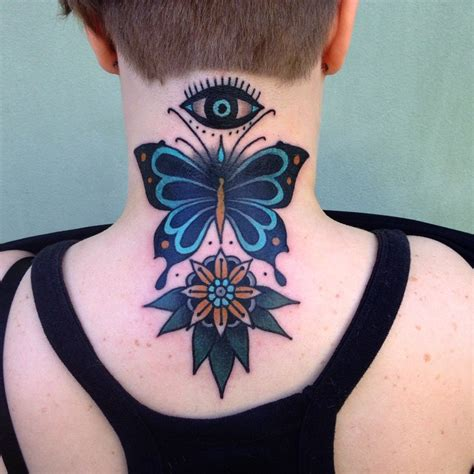 tattoo eye flower traditional butterfly with flower and eye tattoo on back neck