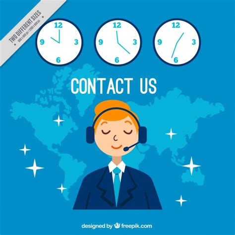 background image center blue callcenter background with clocks vector free