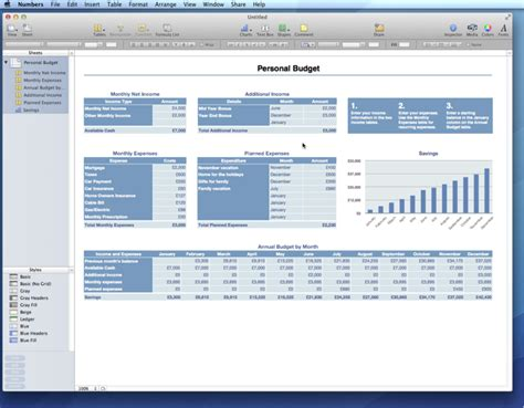 Numbers Budget Template iwork 09 vs office for mac 2011 numbers personal budget