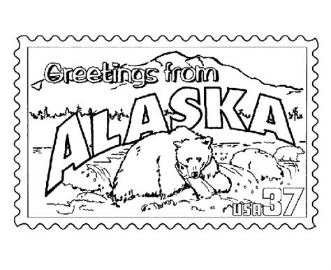 coloring page map of alaska usa printables alaska state st us states coloring