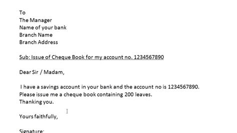 letter bank manager issue new passbook how to write application to bank manager to issue a cheque