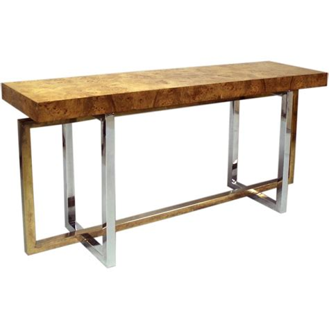 Wooden Console Table A Burled Wood Console Table With A Chrome Base