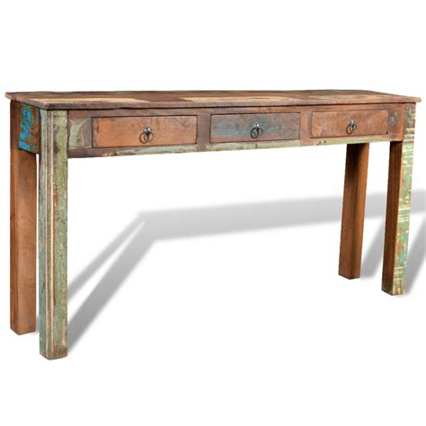 Wood Side Table Vidaxl Co Uk Reclaimed Wood Side Table With 3 Drawers