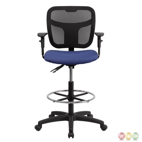 mid back mesh drafting chair w navy blue fabric seat