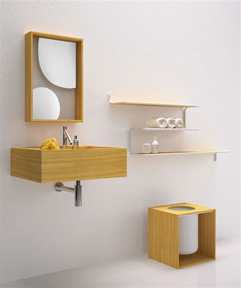 Minimalist Bathroom Furniture In Larch Wood By Bisazza Minimalist Bathroom Furniture