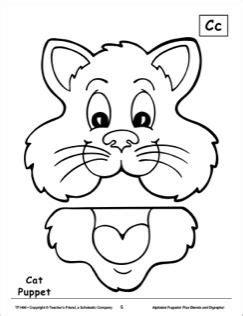 paper bag cat puppet pattern the letter c cat alphabet puppet atividades pedag 243 gicas