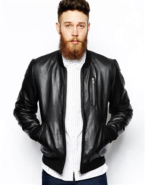 mens leather bomber asos leather bomber jacket in black for lyst