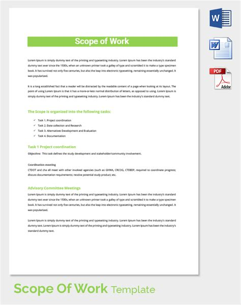 Scope Of Work Template 36 Free Word Pdf Documents Download Free Premium Templates Real Estate Scope Of Work Template