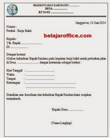 membuat undangan kerja bakti contoh surat undangan kerja bakti rt
