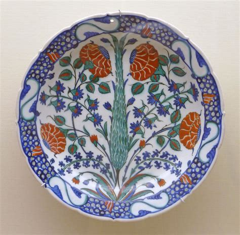 Ottoman Ceramics File Cypress Tree Decorated Ottoman Pottery P1000591 Jpg Wikimedia Commons