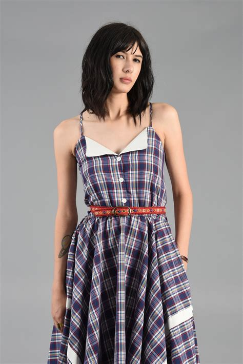 Midi Plaid Pinafore Dress 1970s plaid midi dress with contrasting collar bustown