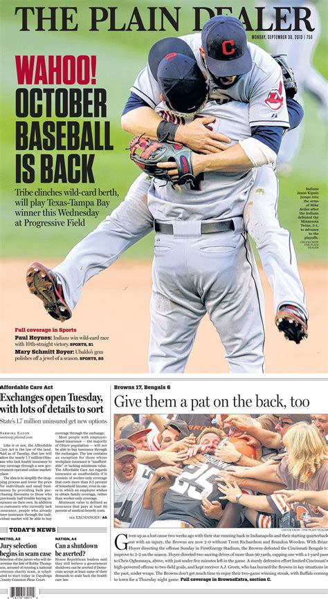 the plain dealer sports section inside the plain dealer s wraparound baseball playoffs