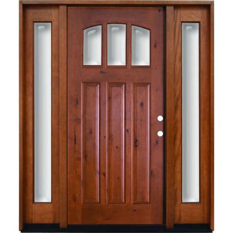 Door Lites Exterior Doors Steves Sons 60 In X 80 In Craftsman 3 Lite Arch Stained Knotty Alder Wood Prehung Front Door