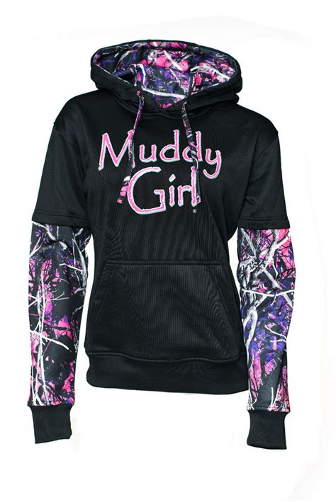 muddy hoodie muddy pullover pink camo sleeve black hoodie ebay