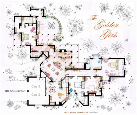 golden girls house floor plans of homes from famous tv shows