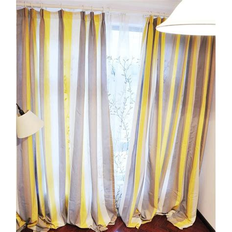 Yellow Black Out Curtains Yellow And Coffee Striped Linen Brief Blackout Curtains