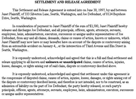 Exle Document For Settlement And Release Agreement Settlement Agreement And Release Of All Claims Template