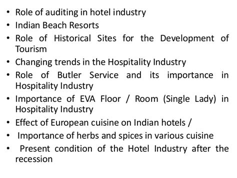 Project Report On Hotel Industry Mba project report titles for mba in hotel management