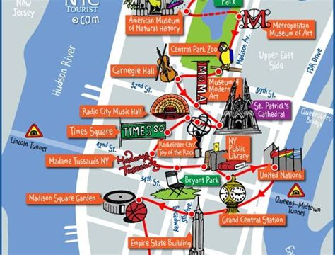 map new york city attractions map of new york with attractions travel maps and major