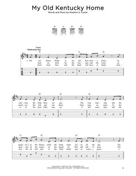 printable lyrics to my old kentucky home my old kentucky home guitar tab by stephen c foster