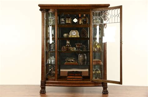 beveled glass china cabinet curved glass 1900 antique oak china cabinet curio display