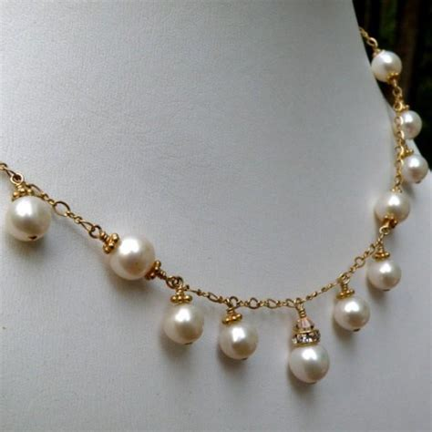 Handmade Pearl Necklace - wedding pearl necklace bridal freshwater pearl jewelry