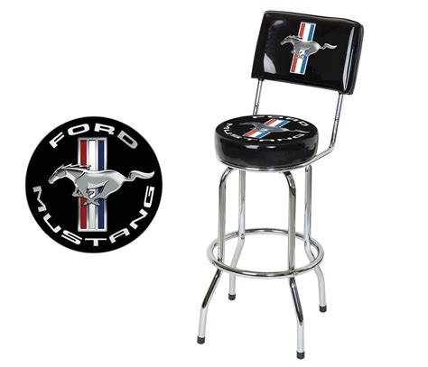 ford bar stool with backrest ford mustang chrome black tribar running bar stool