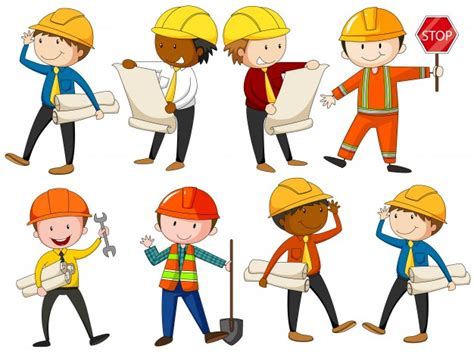 hse engineering graphics design set of engineers and construction workers illustration