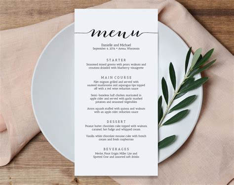 wedding reception menu template wedding menu printable template printable menu menu