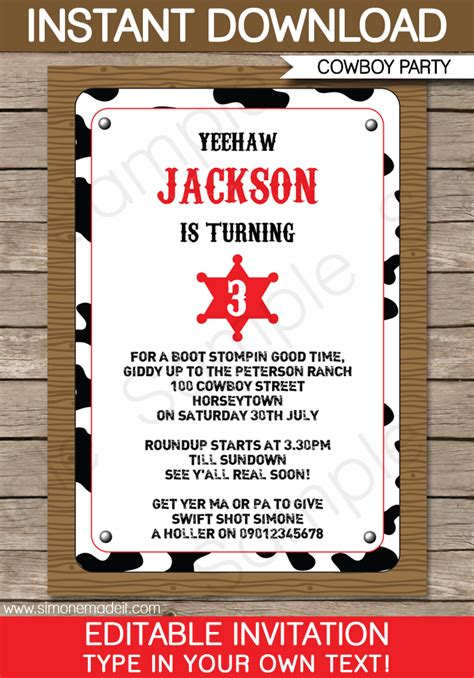 cowboy party invitations template birthday party