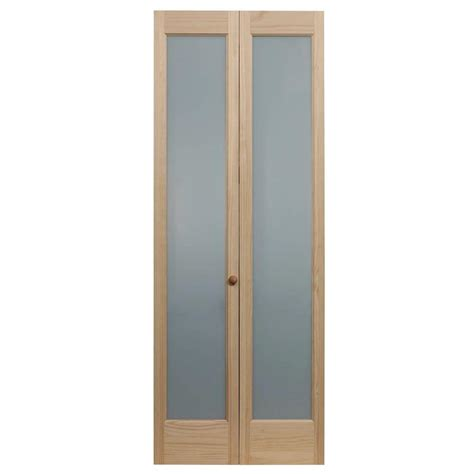 Pinecroft 30 In X 80 In Full Frosted Glass Pine Interior Bi Fold Interior Doors