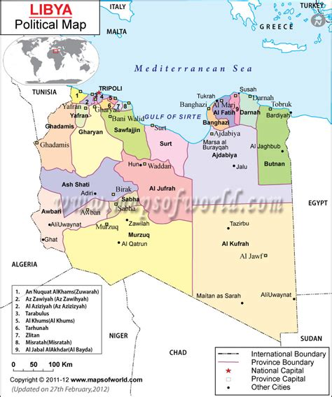 libya map in world opinions on districts of libya