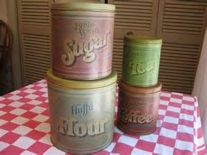 tin kitchen canister set fluffy flour advertising by gaelianna vintage canister set 3 pieces calif usa pottery sugar