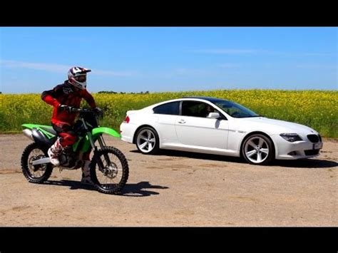 bmw motocross bike motocross bike vs bmw drag race lithuania