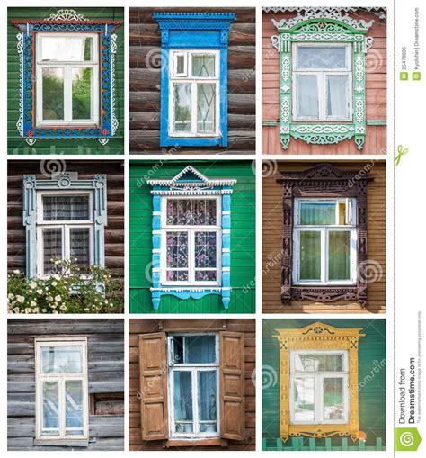 imagenes libres de ventanas conjunto de las ventanas de las casas rusas foto de