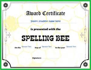 spelling bee certificate template spelling bee award certificates for ms word word