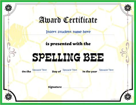 Spelling Bee Award Certificate Template spelling bee award certificates for ms word word