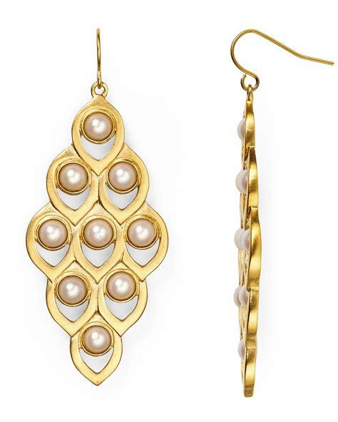 Gold Pearl Chandelier Earrings Carolee Faux Pearl Chandelier Earrings In Gold Lyst