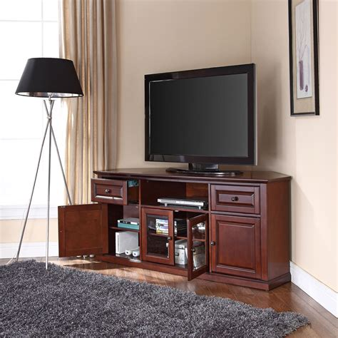 60 inch tv cabinet 60 inch corner tv stand in vintage mahogany crosley