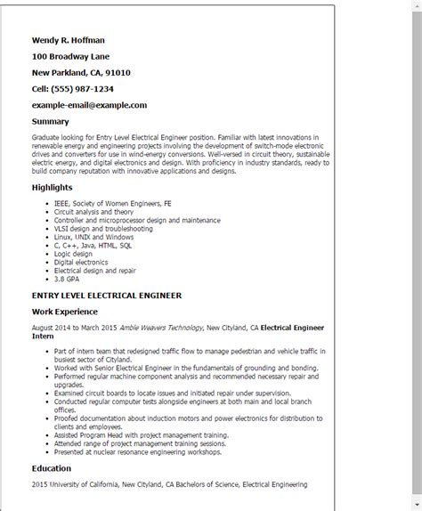 Entry Level Engineering Resume by Professional Entry Level Electrical Engineer Templates To