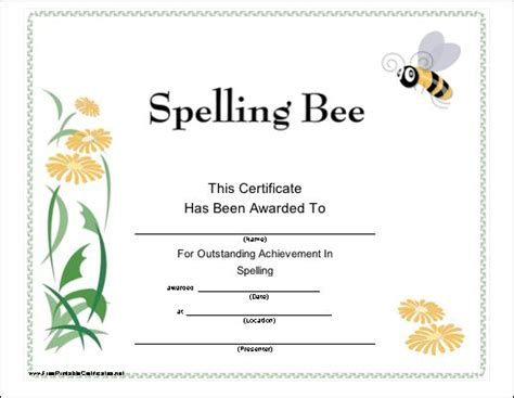 printable spelling bee games 15 best certificates images on pinterest award