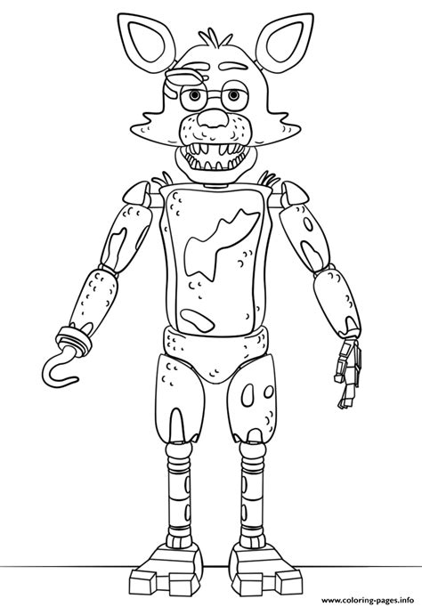 Fnaf 1 Coloring Pages by Fnaf Foxy Coloring Pages Printable