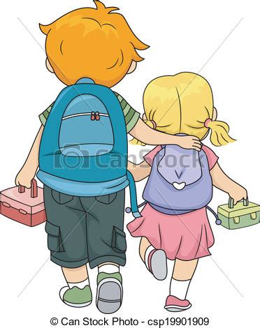 Small Bungalow House Plans by Vector Clipart Of Siblings Walking Home Illustration Of