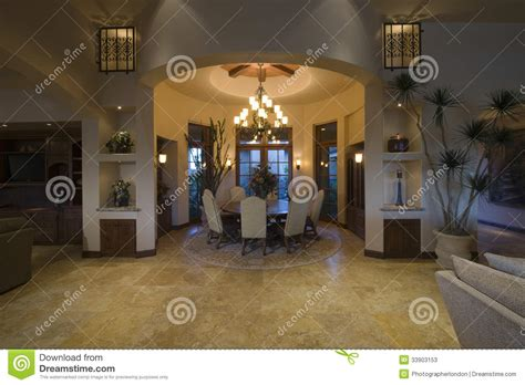 The Circular Dining Room by Lit Circular Dining Room Of Modern Home Stock Image
