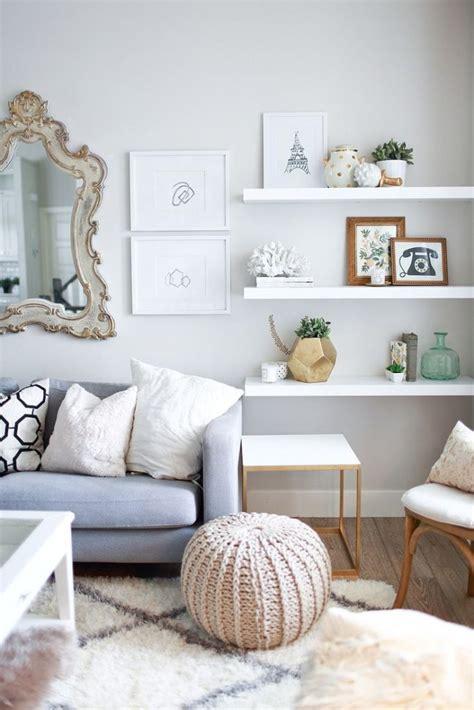 floating white shelves  living room home decorating