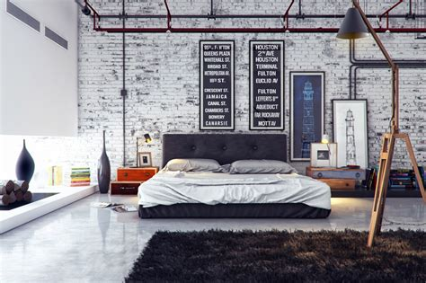 Industrial Design Home Decor by Industrial Bedroom 1 Interior Design Ideas