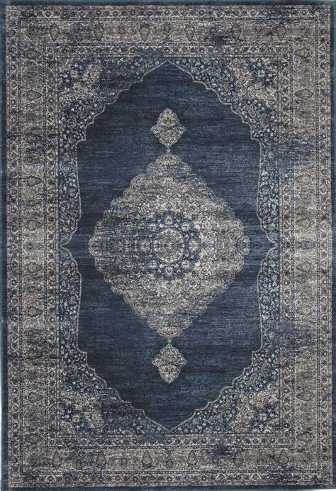 Navy Blue  Silver Faded Worn Overdyed Style Rug Woodwaves