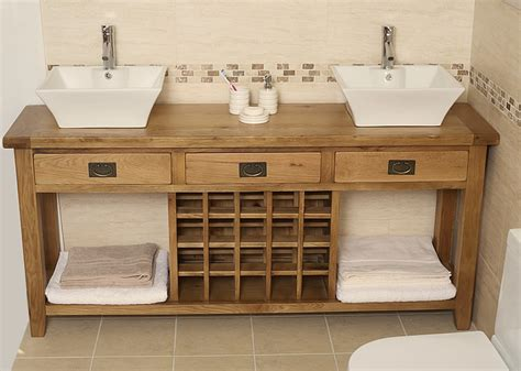 Kitchen Islands With Sinks 50 Off Large Oak Double Open Vanity Unit Bathroom