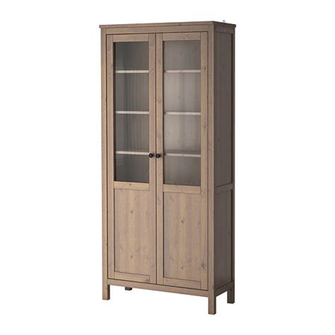 Ikea Kitchen Cabinets Solid Wood Hemnes Cabinet With Panel Glass Door Gray Brown Ikea